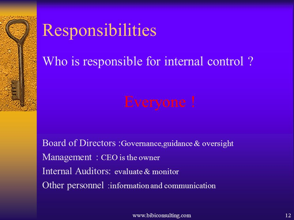 Responsibilities Who is responsible for internal control Everyone !
