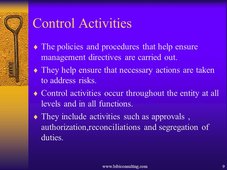 Control Activities The policies and procedures that help ensure management directives are carried out.