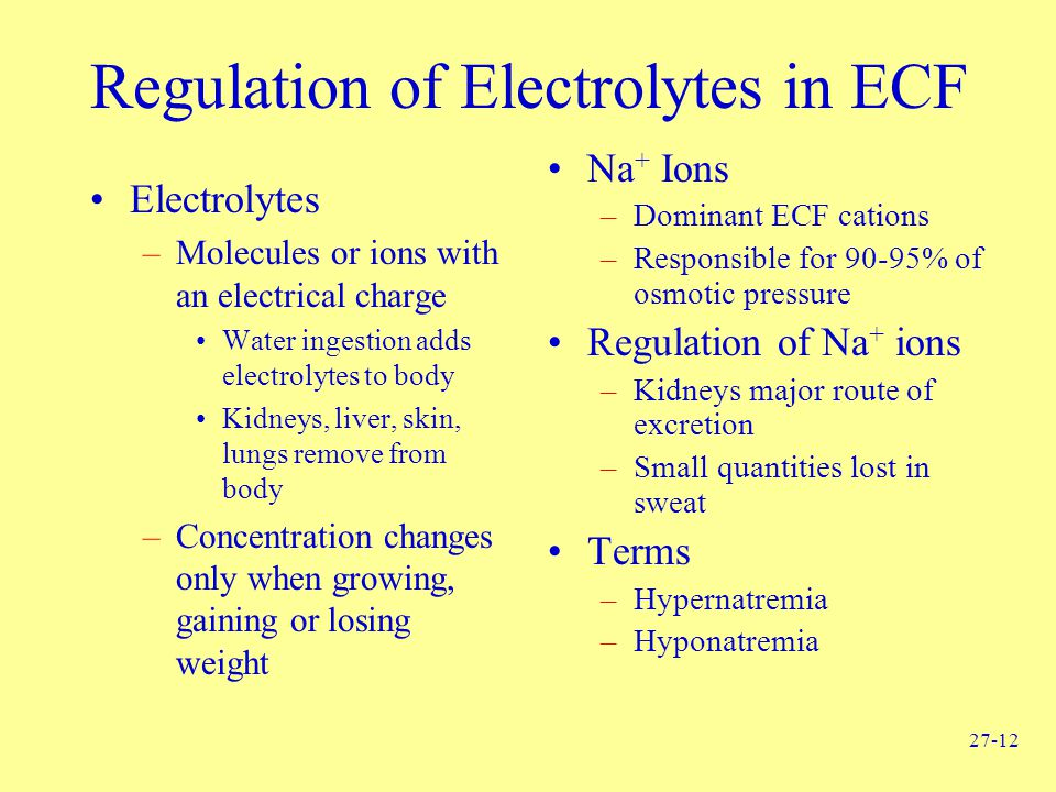 Regulation of Electrolytes in ECF