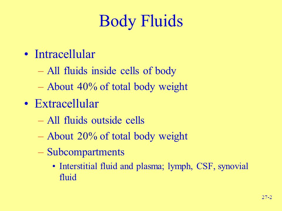 Body Fluids Intracellular Extracellular
