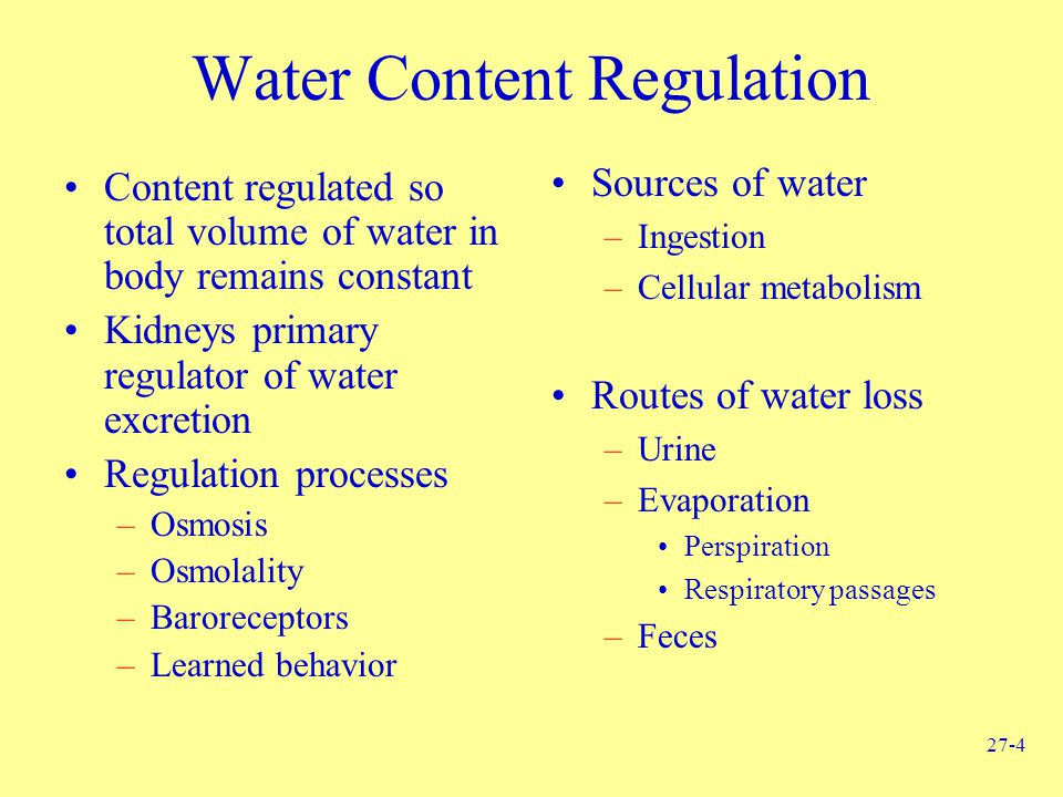 Water Content Regulation