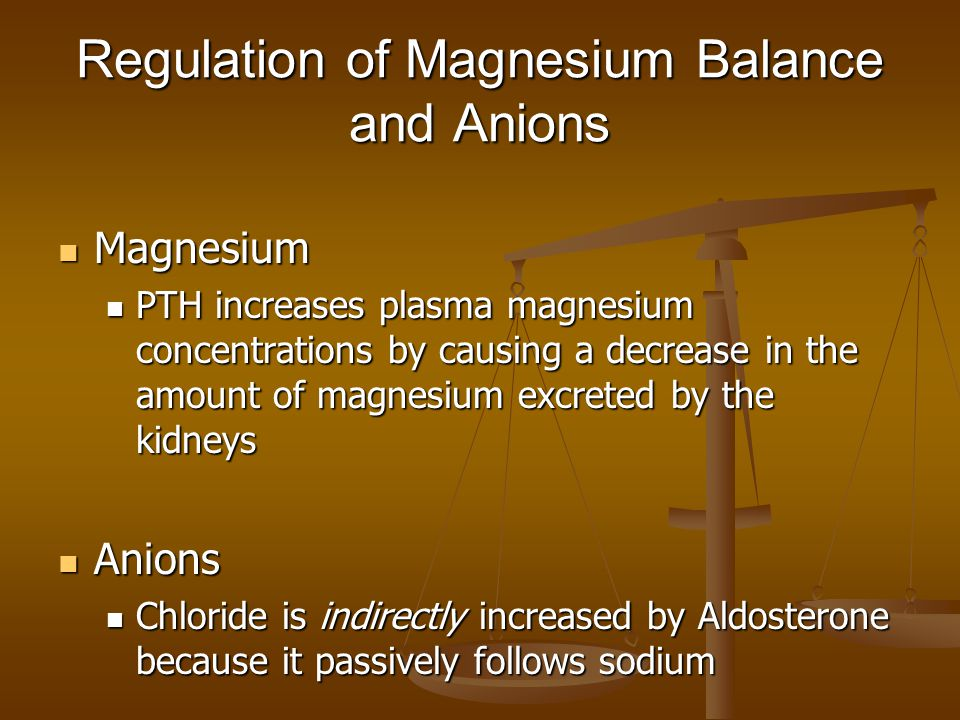 Regulation of Magnesium Balance and Anions