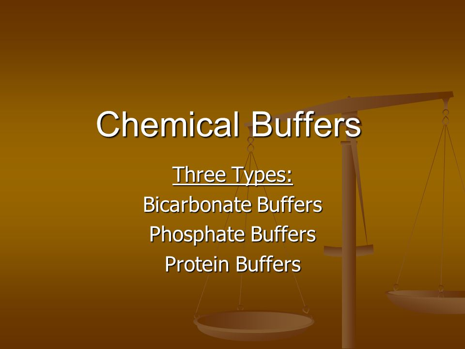 Three Types: Bicarbonate Buffers Phosphate Buffers Protein Buffers