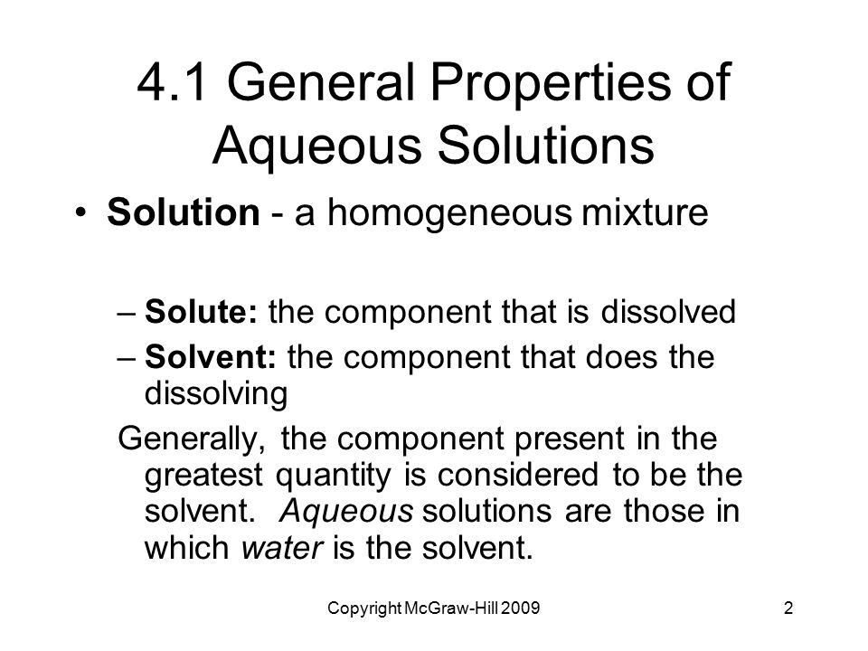 4.1 General Properties of Aqueous Solutions