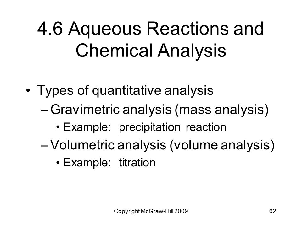4.6 Aqueous Reactions and Chemical Analysis