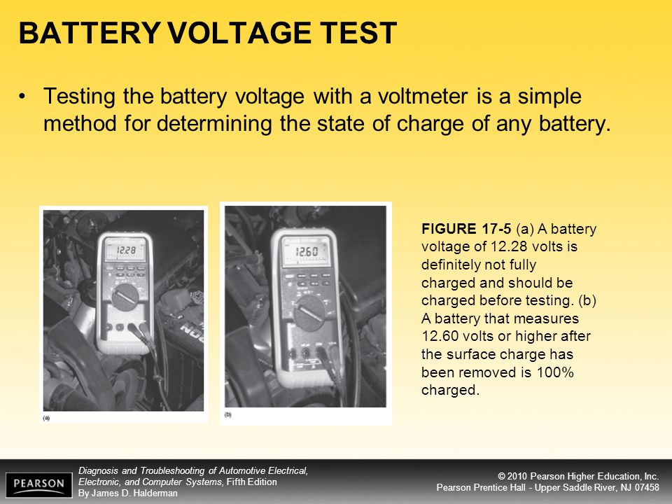 BATTERY VOLTAGE TEST Testing the battery voltage with a voltmeter is a simple method for determining the state of charge of any battery.