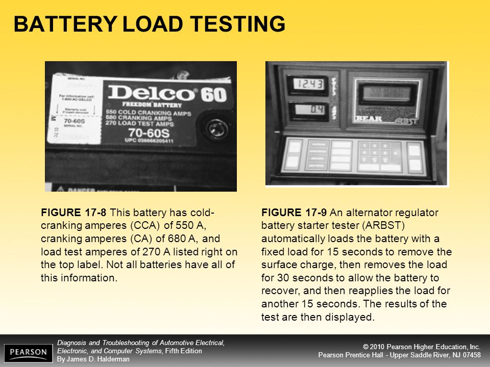 BATTERY LOAD TESTING FIGURE 17-8 This battery has cold-cranking amperes (CCA) of 550 A,
