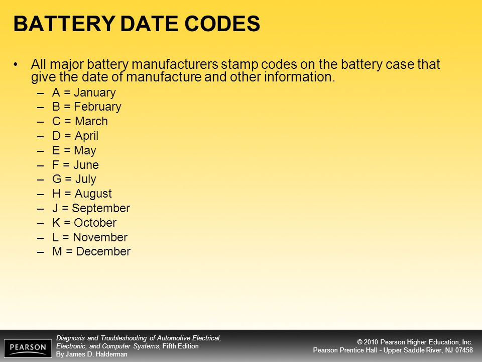 BATTERY DATE CODES All major battery manufacturers stamp codes on the battery case that give the date of manufacture and other information.