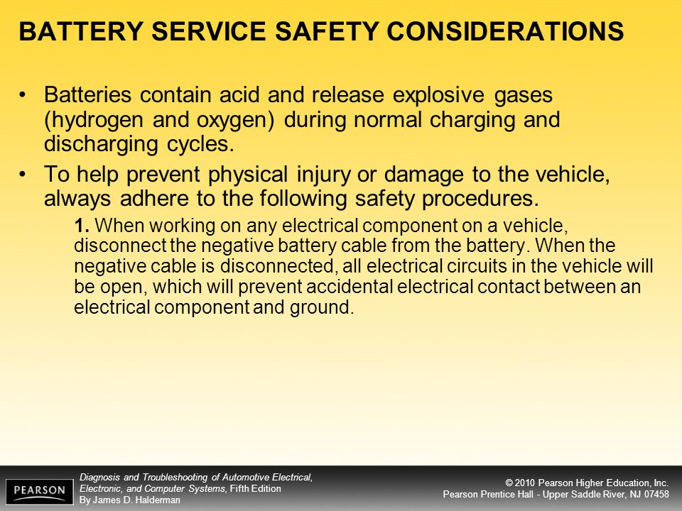 BATTERY SERVICE SAFETY CONSIDERATIONS