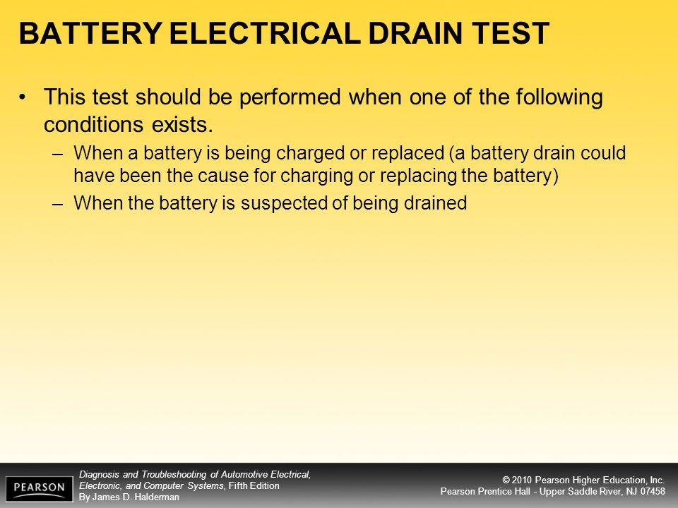 BATTERY ELECTRICAL DRAIN TEST