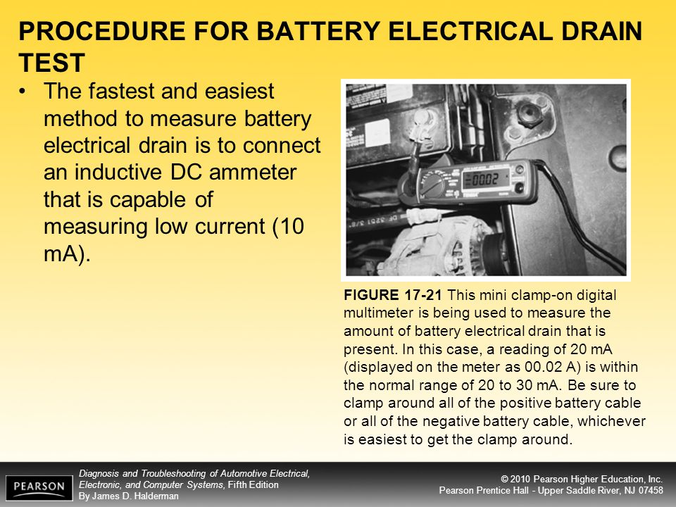 PROCEDURE FOR BATTERY ELECTRICAL DRAIN TEST