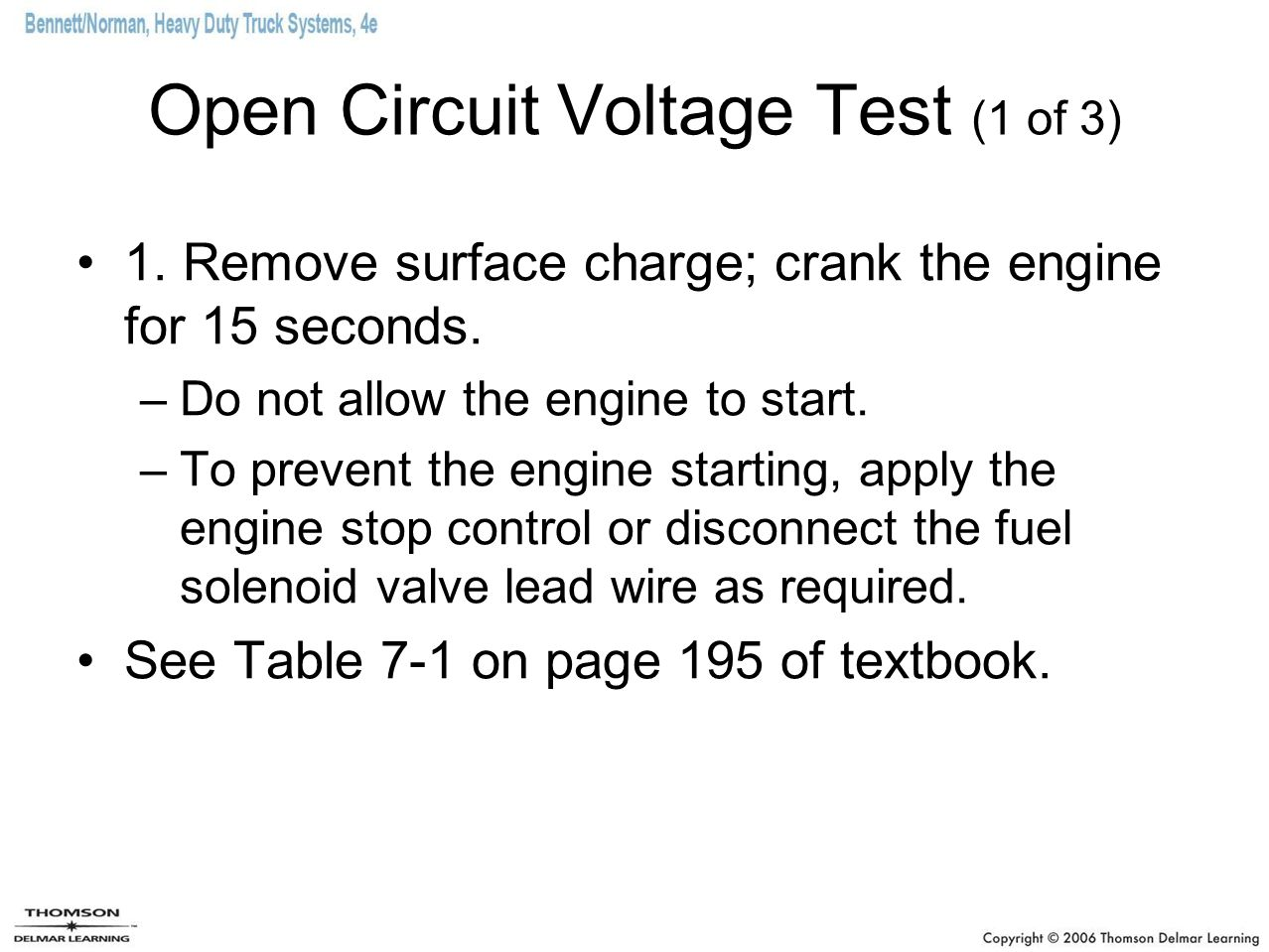 Open Circuit Voltage Test (1 of 3)