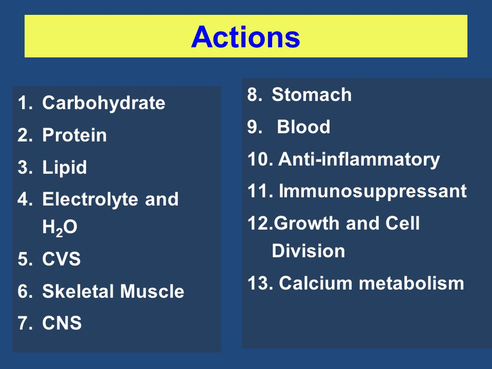 Actions Stomach Carbohydrate Blood Protein Anti-inflammatory Lipid
