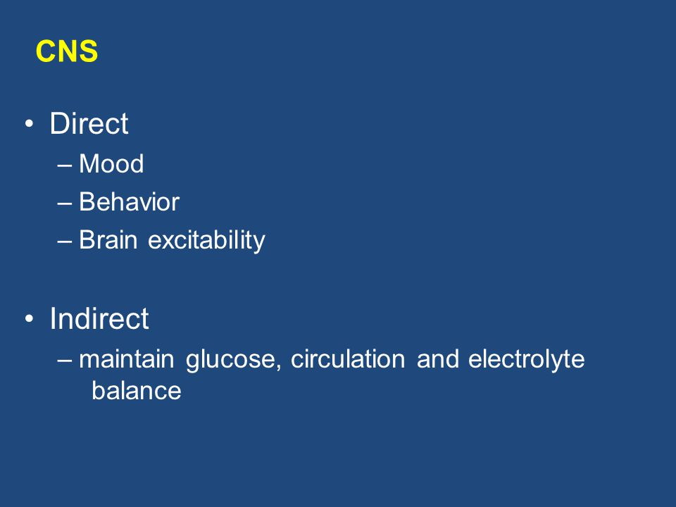 CNS Direct Indirect Mood Behavior Brain excitability