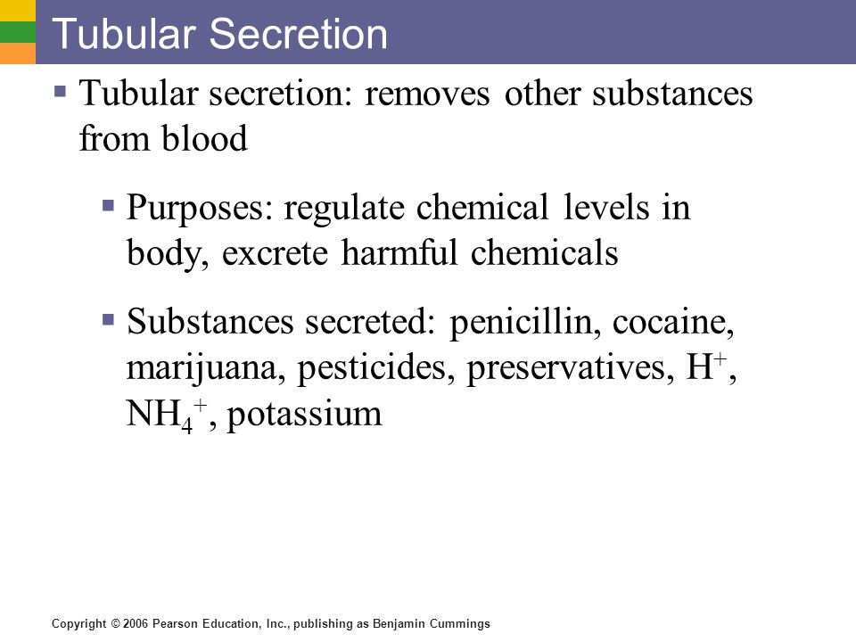 Tubular Secretion Tubular secretion: removes other substances from blood. Purposes: regulate chemical levels in body, excrete harmful chemicals.