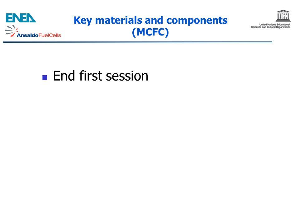 Key materials and components (MCFC)