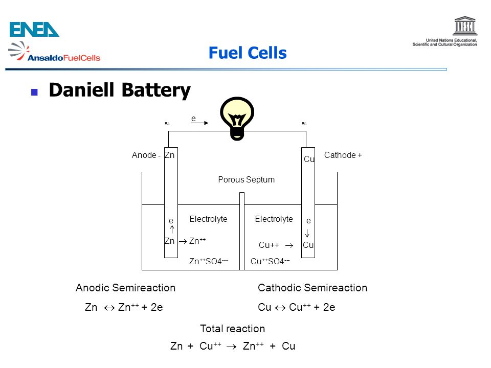 Daniell Battery Fuel Cells Anodic Semireaction Zn  Zn++ + 2e