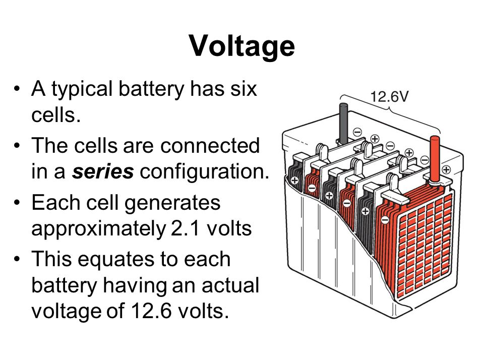 Voltage A typical battery has six cells.