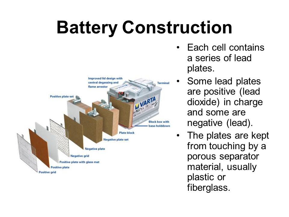 Battery Construction Each cell contains a series of lead plates.