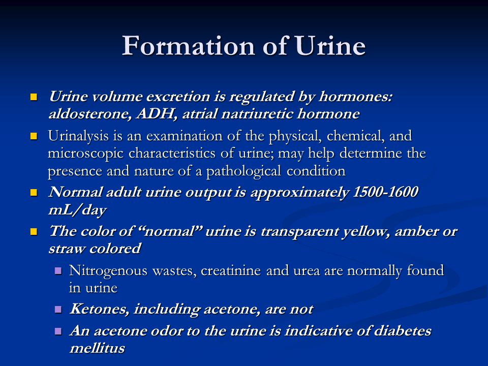 Formation of Urine Urine volume excretion is regulated by hormones: aldosterone, ADH, atrial natriuretic hormone.