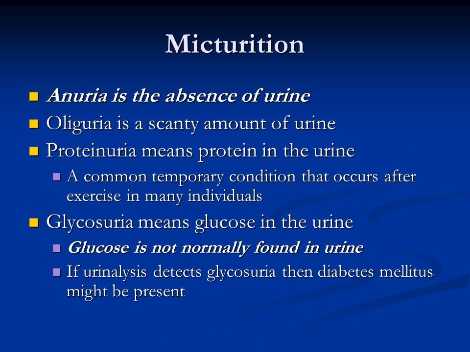 Micturition Anuria is the absence of urine