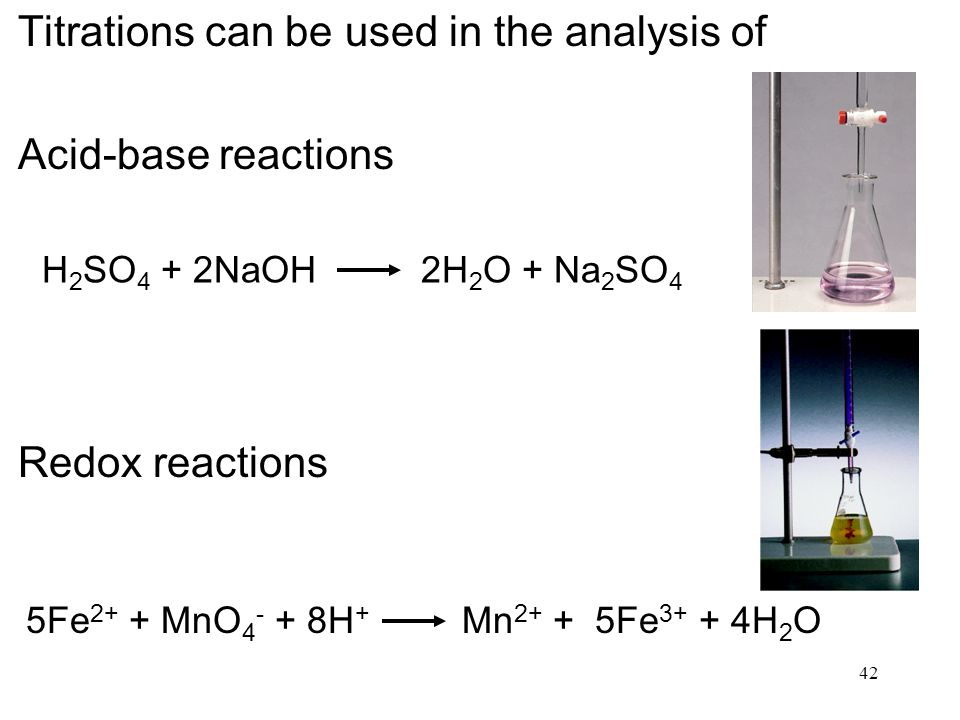 Titrations can be used in the analysis of Acid-base reactions
