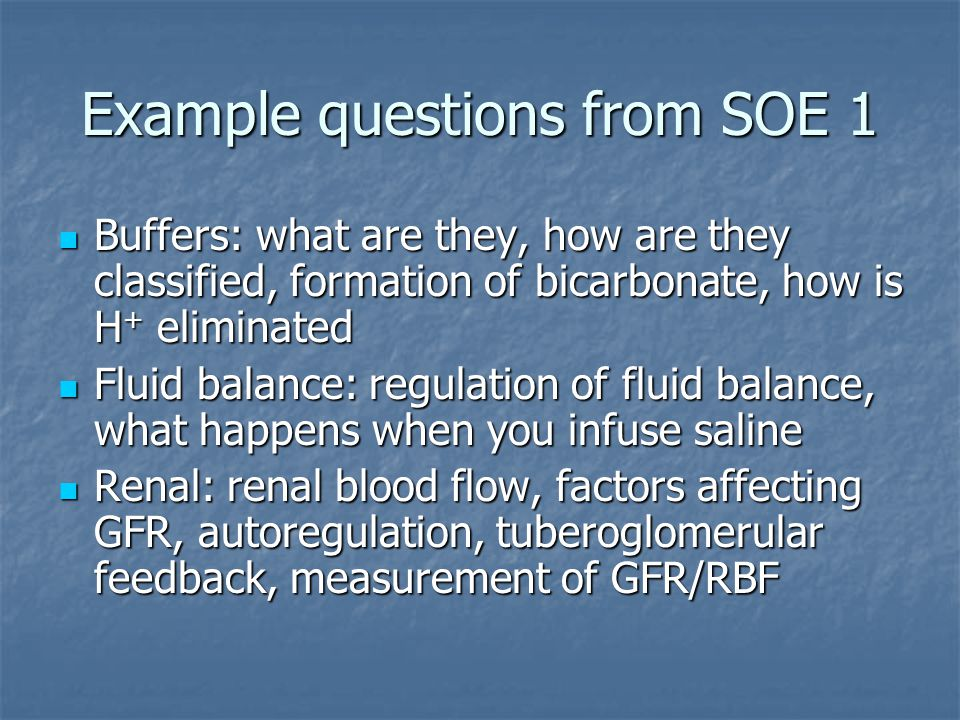 Example questions from SOE 1