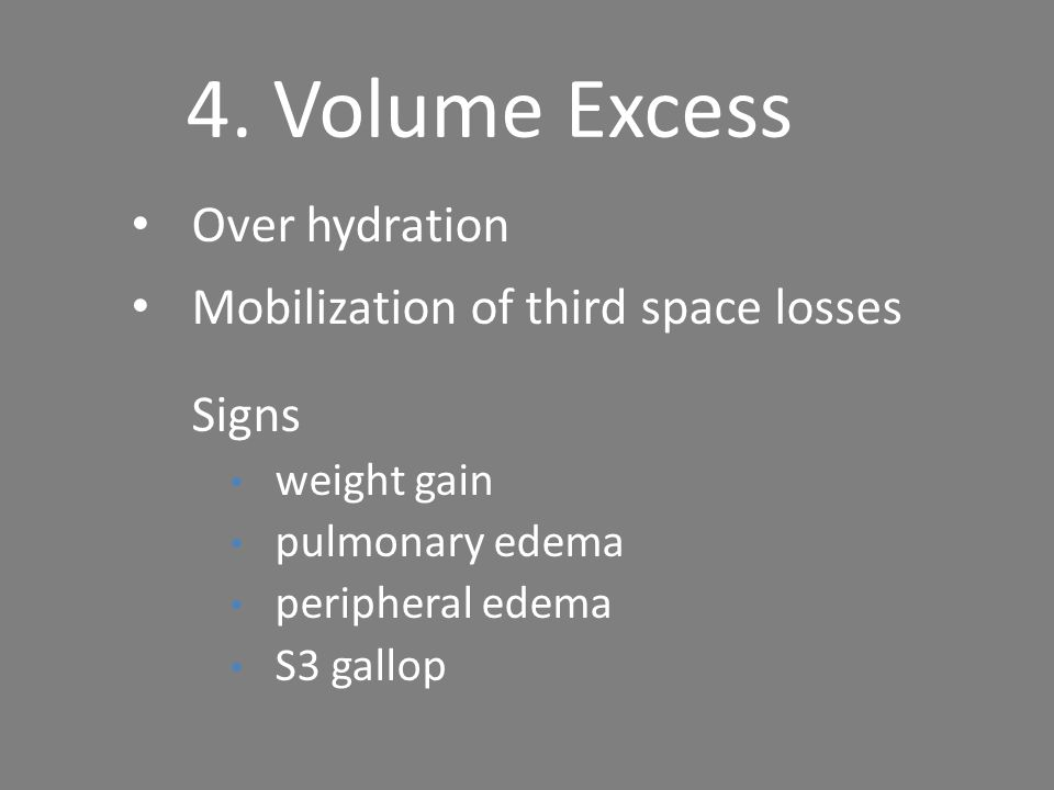 4. Volume Excess Over hydration Mobilization of third space losses