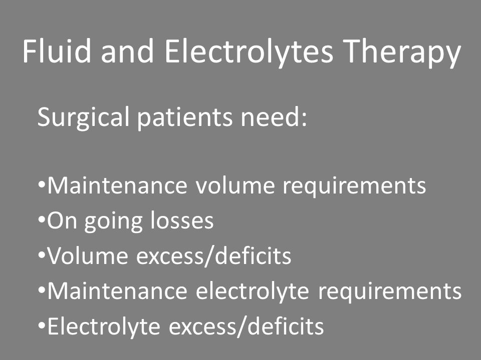 Fluid and Electrolytes Therapy