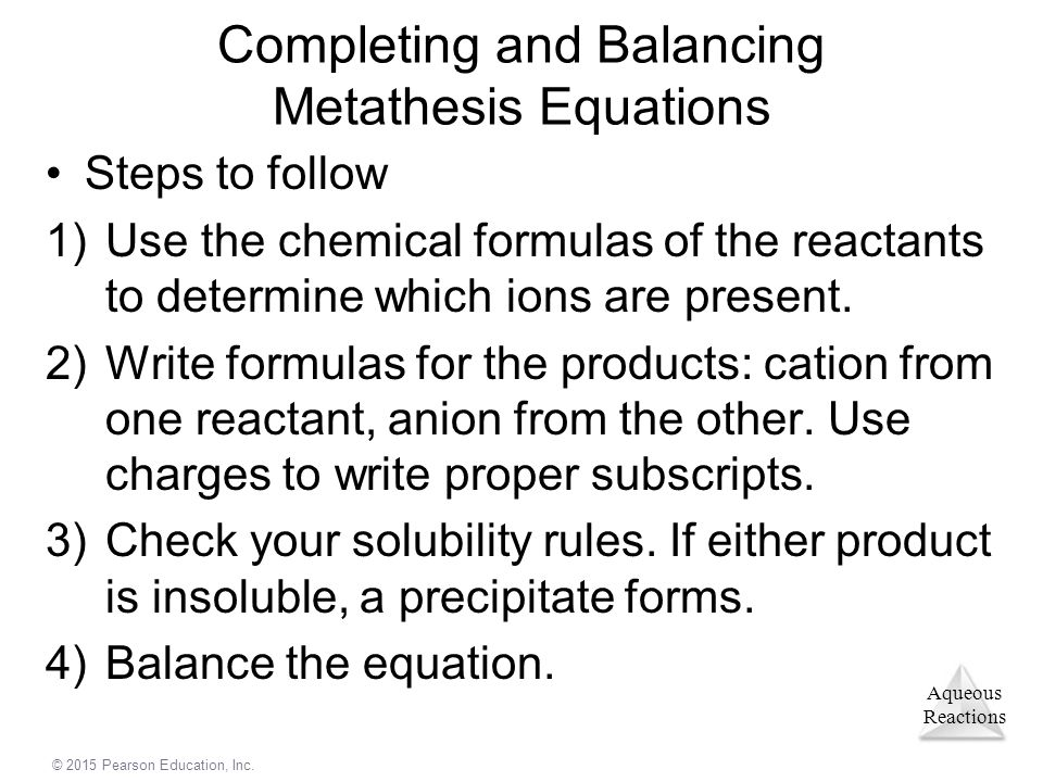 Completing and Balancing Metathesis Equations
