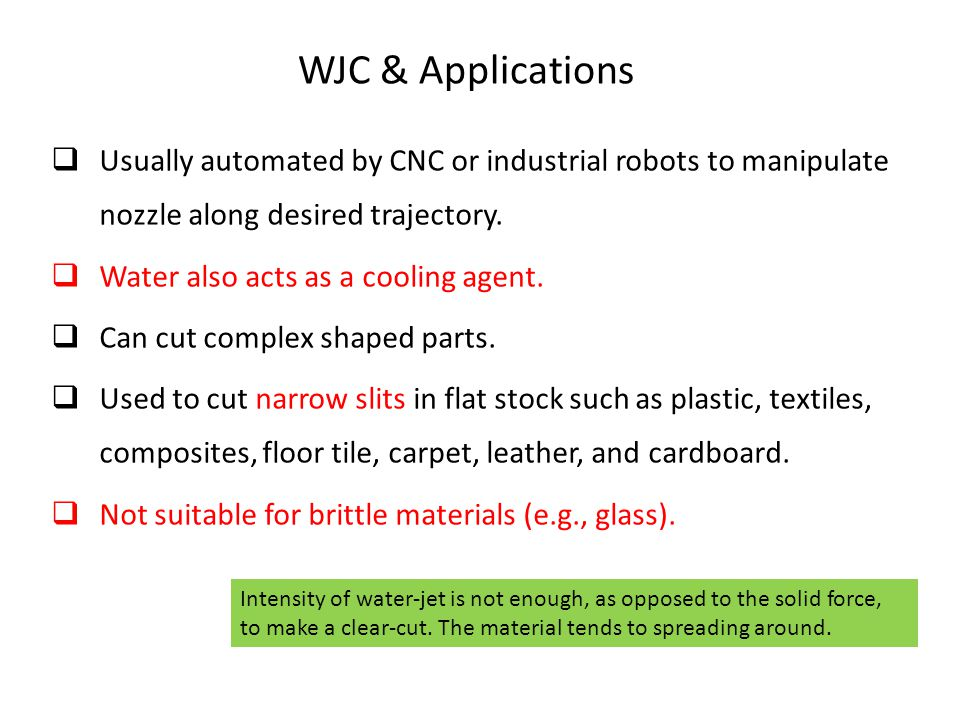 WJC & Applications Usually automated by CNC or industrial robots to manipulate nozzle along desired trajectory.