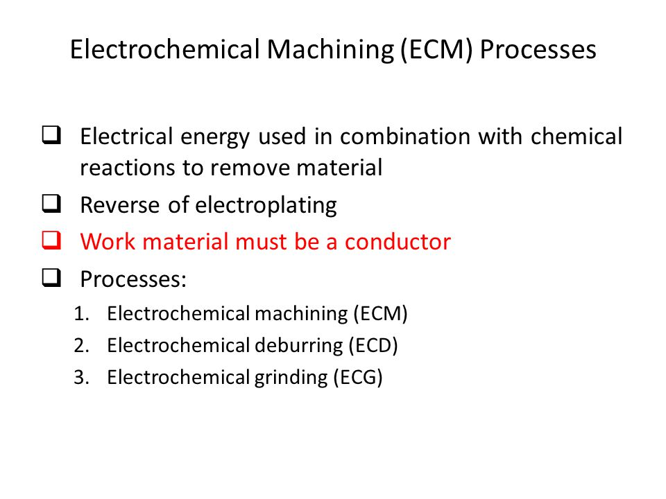 Electrochemical Machining (ECM) Processes