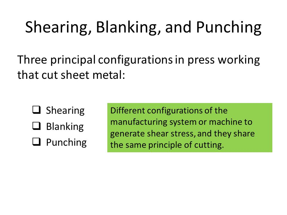 Shearing, Blanking, and Punching