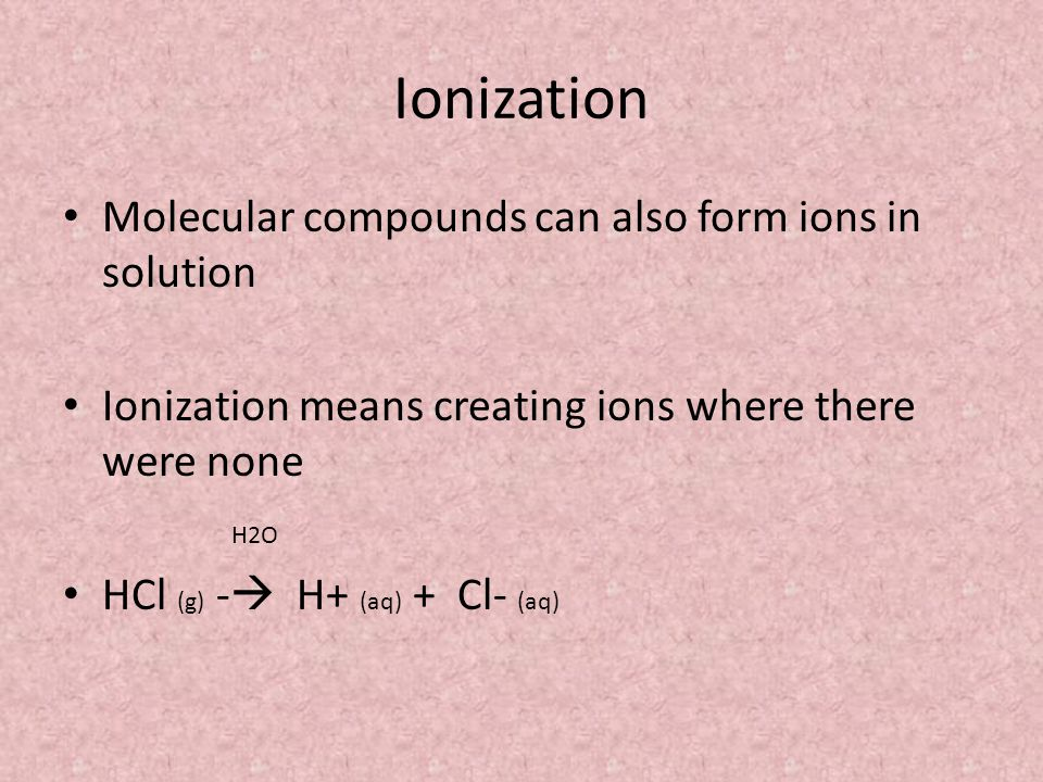 Ionization Molecular compounds can also form ions in solution