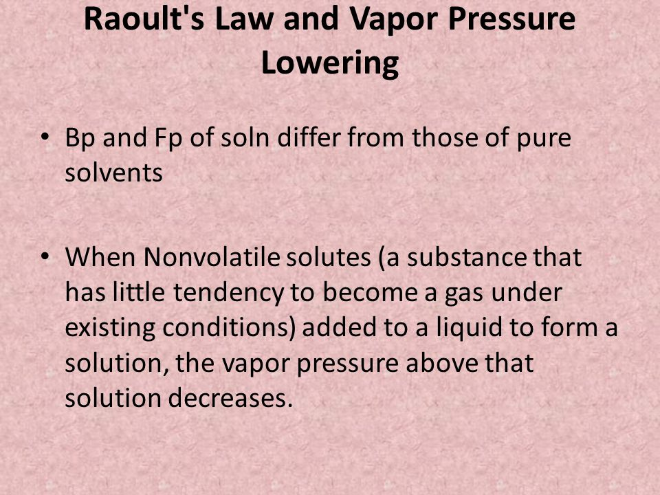 Raoult s Law and Vapor Pressure Lowering