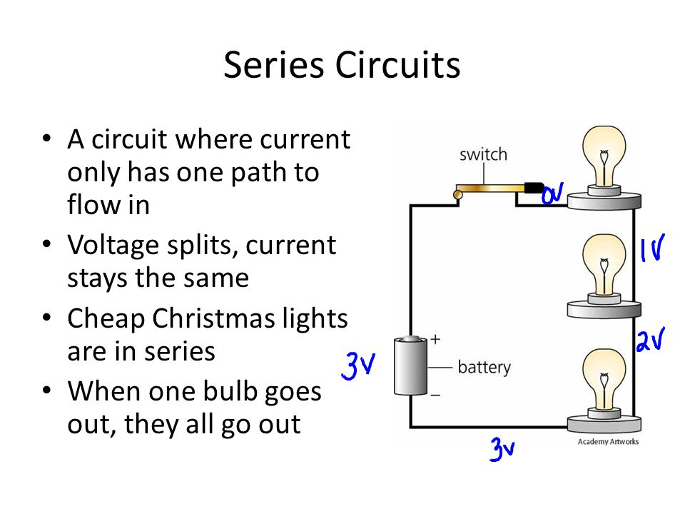 Series Circuits A circuit where current only has one path to flow in
