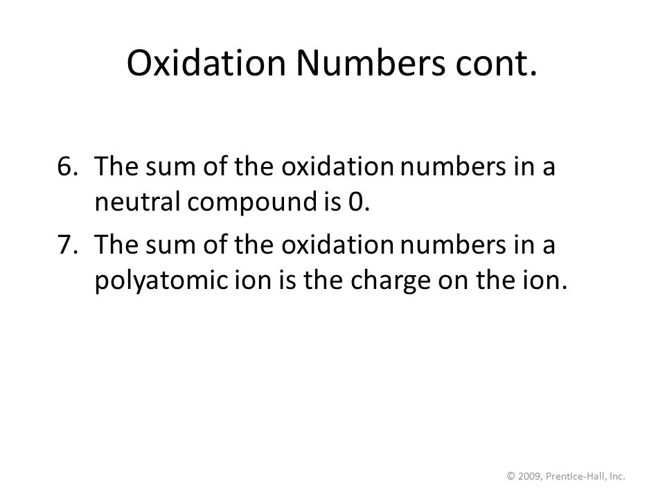 Oxidation Numbers cont.