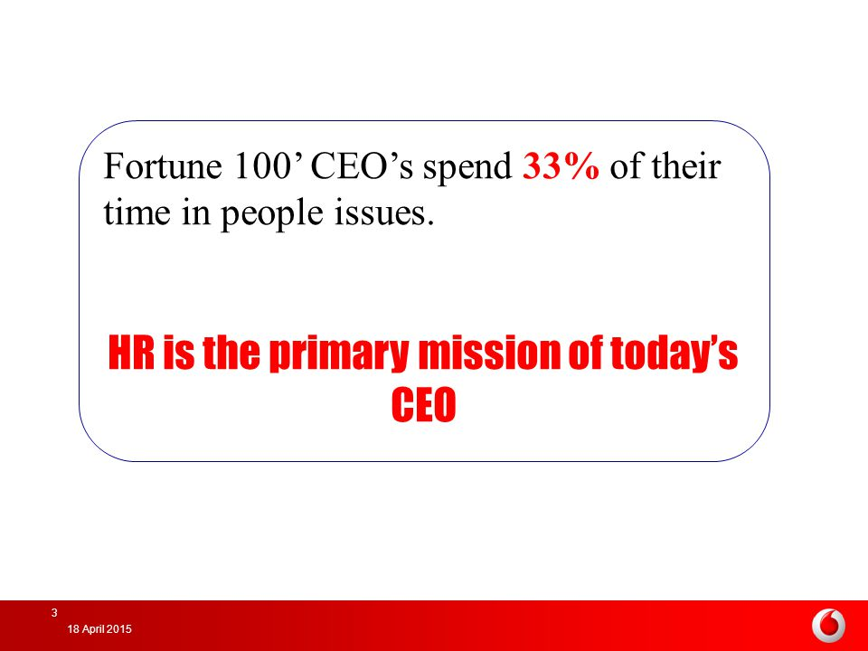 HR is the primary mission of today's CEO