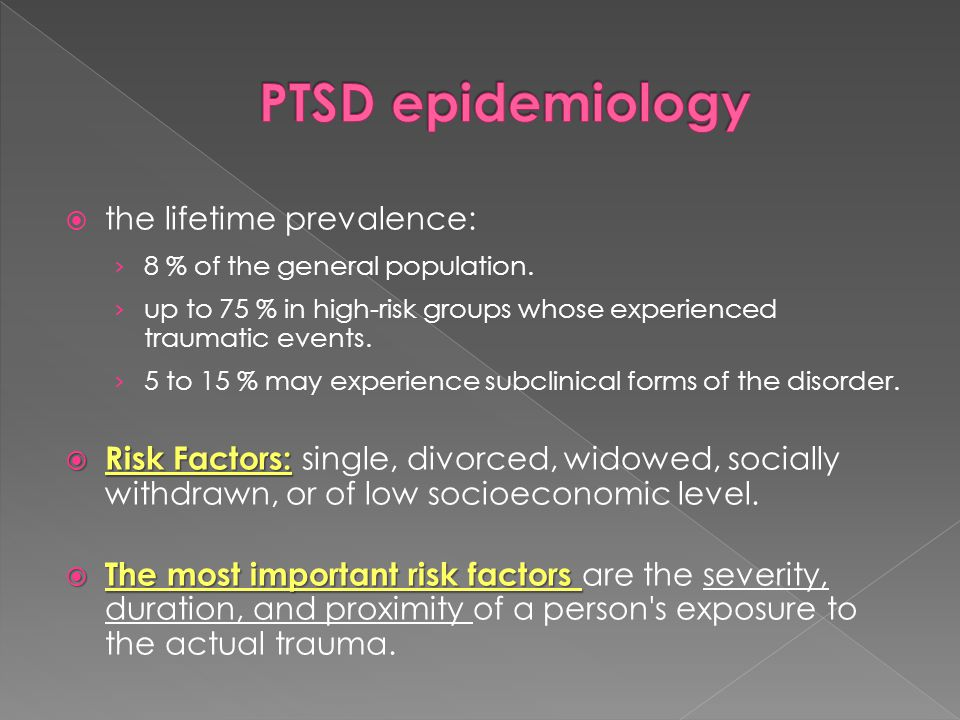 PTSD epidemiology the lifetime prevalence: