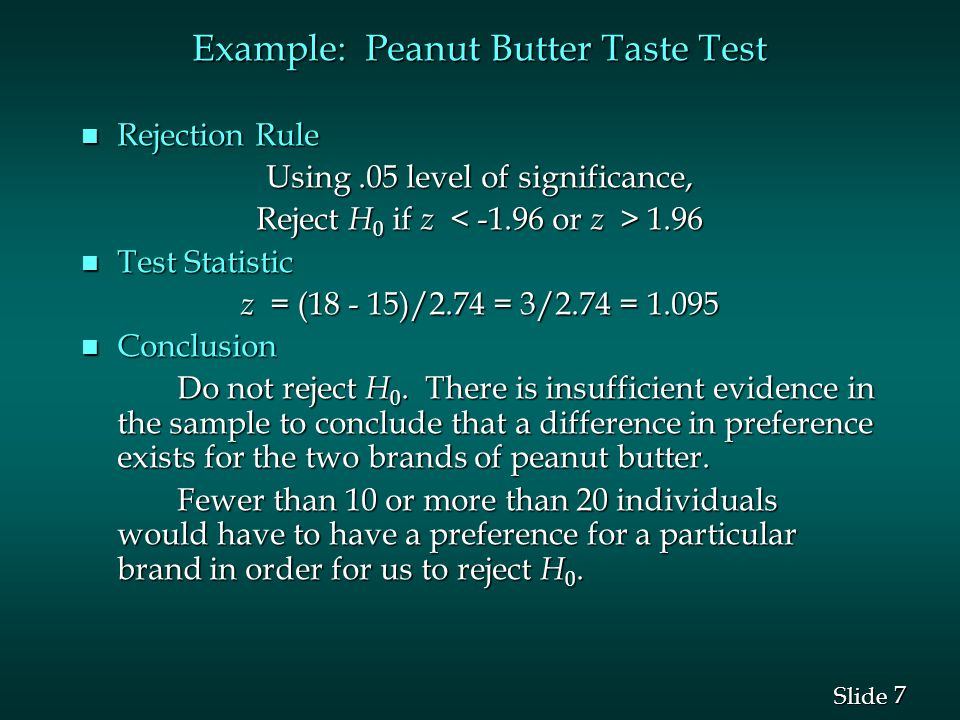 Example: Peanut Butter Taste Test