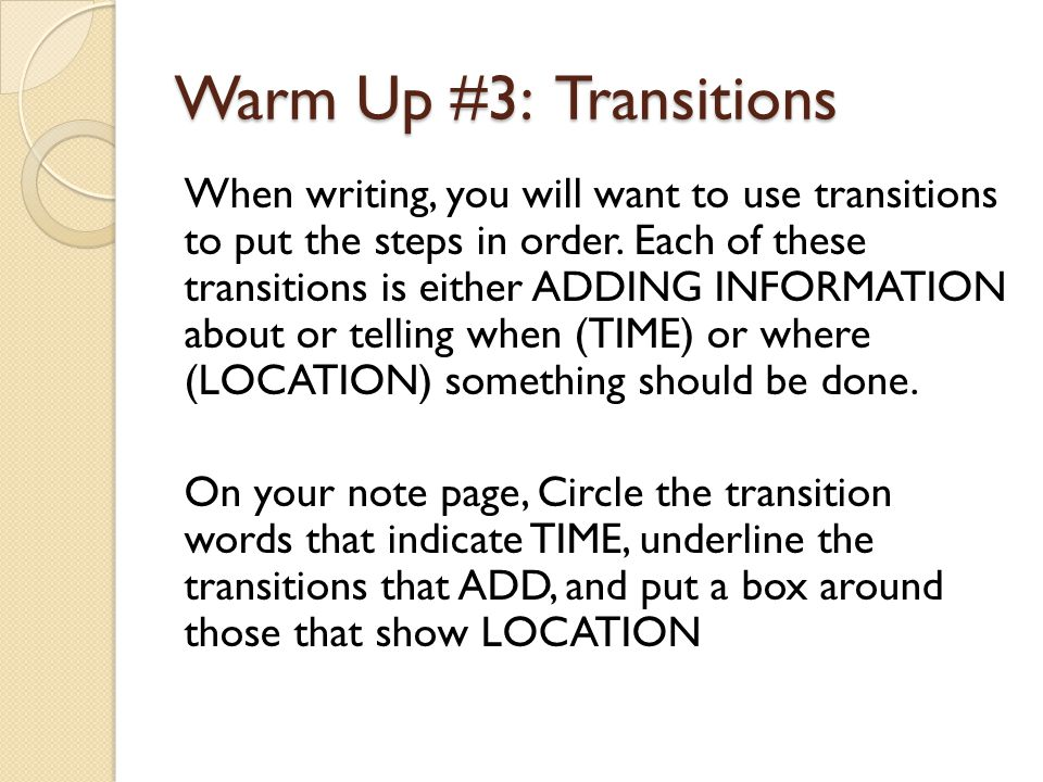 Warm Up #3: Transitions
