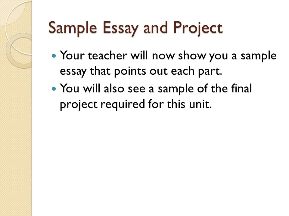Sample Essay and Project