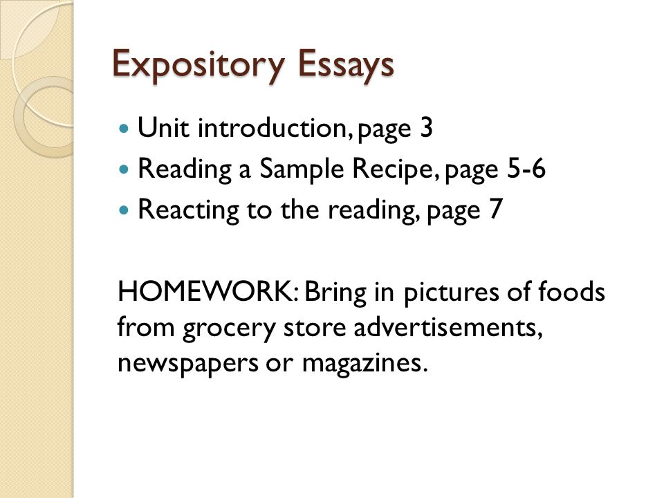 Expository Essays Unit introduction, page 3