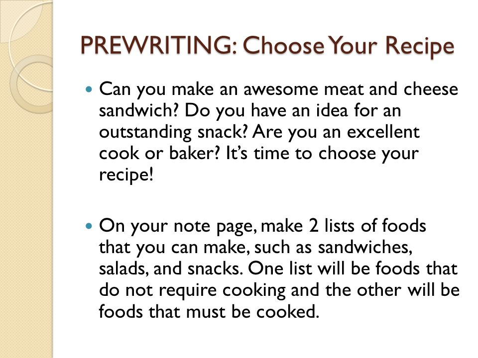 PREWRITING: Choose Your Recipe