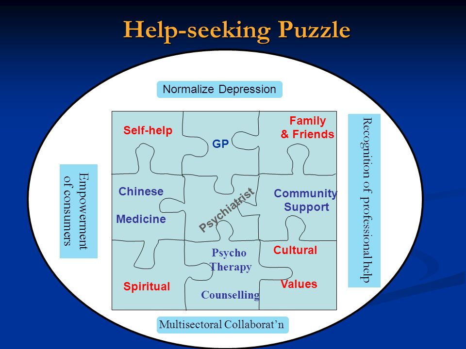 Help-seeking Puzzle Recognition of professional help Empowerment