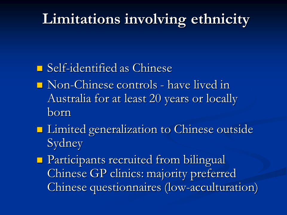 Limitations involving ethnicity