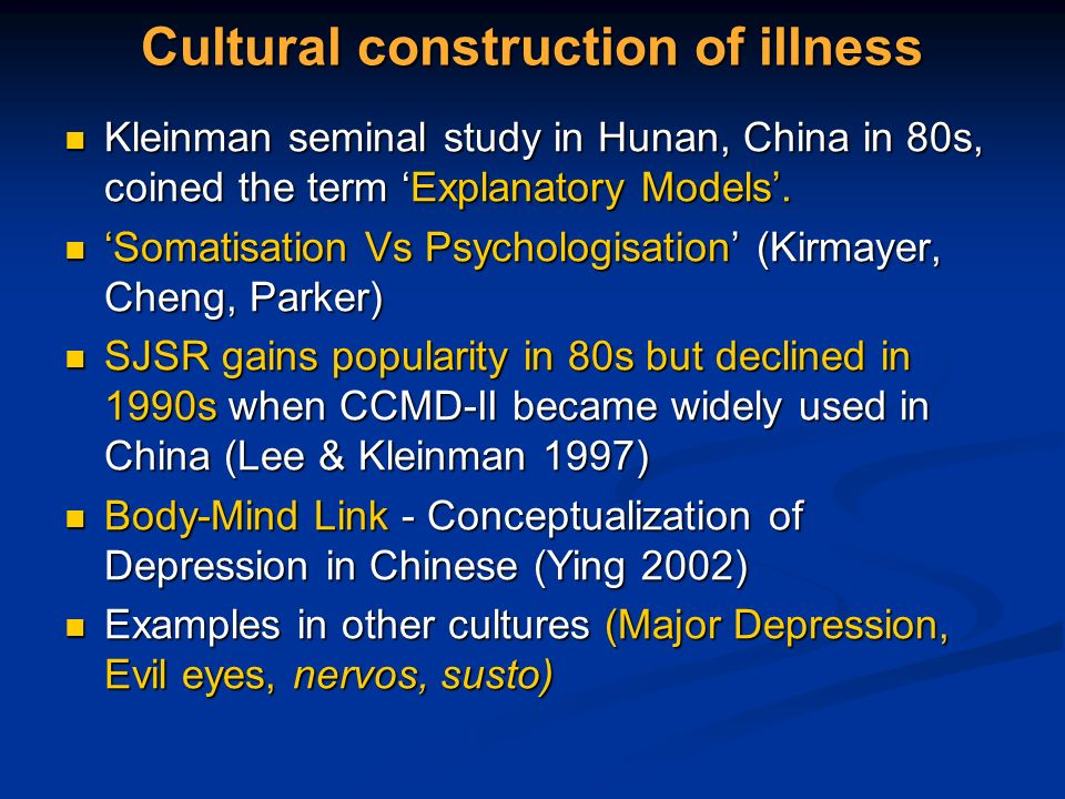 Cultural construction of illness