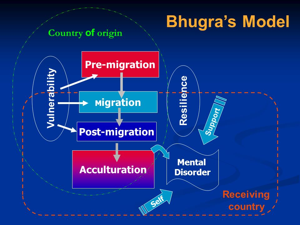 Bhugra's Model Country of origin Pre-migration Vulnerability