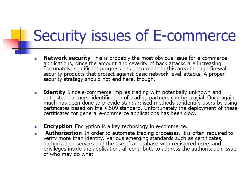 E-commerce and security concerns --- examples and discussion