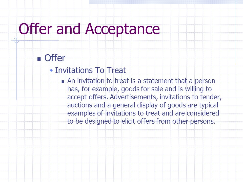 invitation to treat and offer